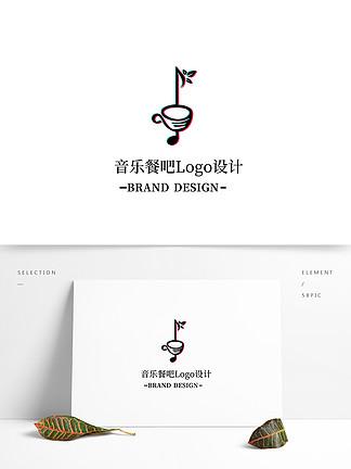 抖音风音乐餐吧LOGO标志