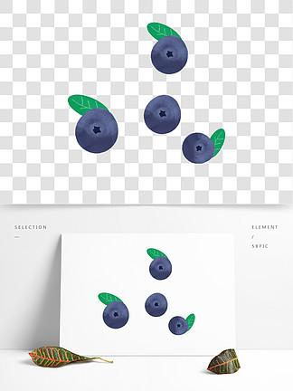 卡通手绘蓝莓免扣素材