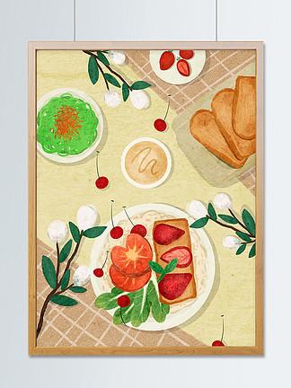 夏日清新美食早餐下午茶質感主題插畫