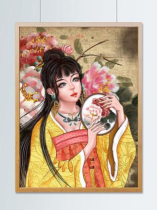 古风水墨彩绘武侠古典国潮美人团扇牡丹汉服