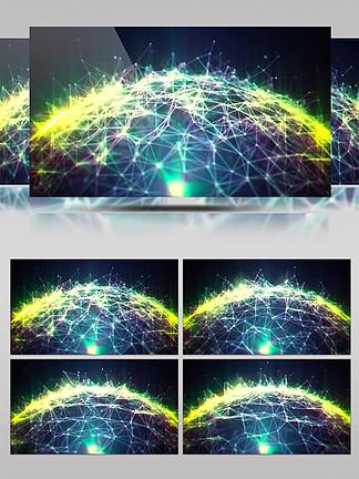 4K虚拟粒子光线链接星球大气特效背景