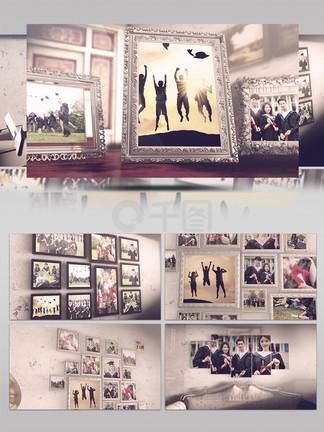 照片墙家居照片展示毕业季回忆录照片AE