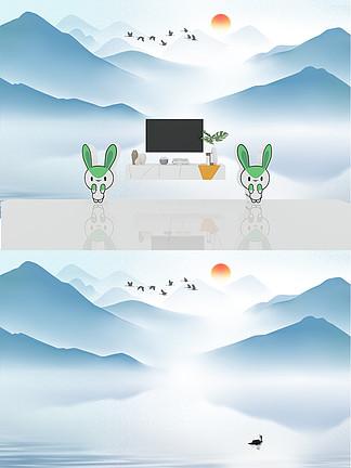 藍色大氣水墨山水飛鳥<i>背</i><i>景</i><i>墻</i>