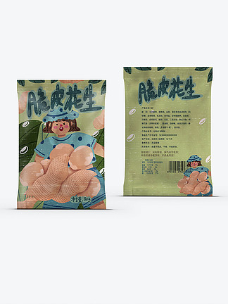 创意扁平脆皮花生米休闲可爱卡通零食包装袋