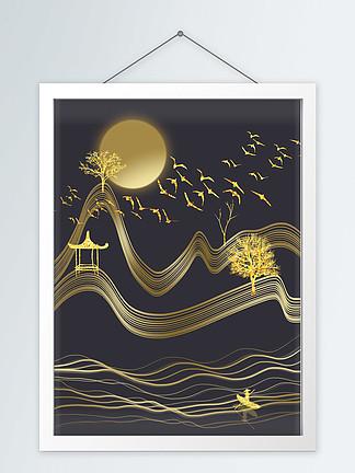 大气轻奢现代金色线条装饰画挂画
