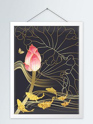 抽象轻奢现代金色线条装饰画