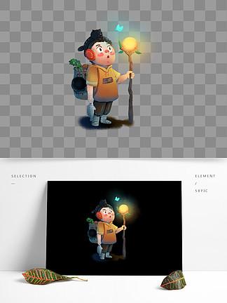 萤灵之光清新插画晚安元素