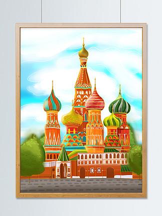 俄羅斯圣瓦西里升天教堂手繪風光建筑插畫