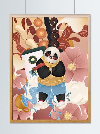 成都旅行印象大熊貓串串美食可愛插畫