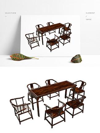 C4D中式家具组合3d模型
