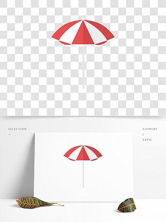 唯美手绘遮阳伞png元素