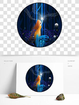 萤灵之光梦幻治愈儿童插画元素图片背景素材