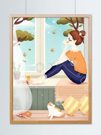 居家生活之望着窗外的女孩