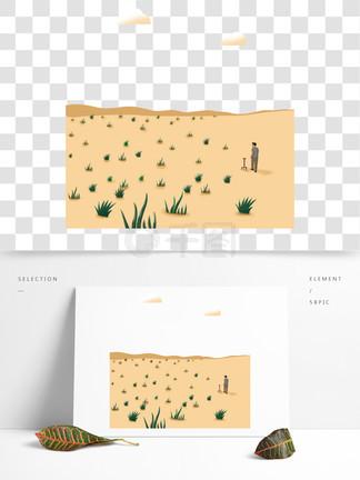 原创扁平风沙漠绿植世界防荒漠化元素图