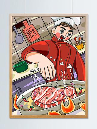 廚師煎牛排做飯插畫
