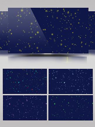 5种不同颜色星星闪烁带通道视频素材