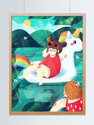 夏至夏天暑假游泳度假海边处暑可爱扁平清新
