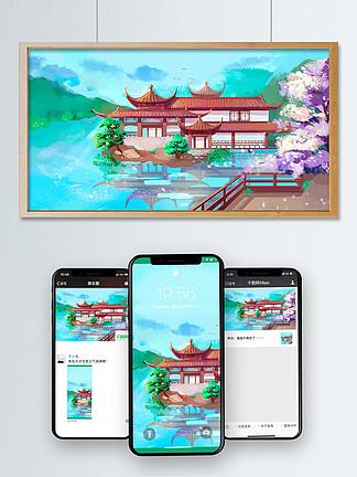 風景建筑湖邊景色插畫