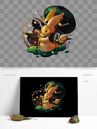 可商用萤灵之光女孩与兔兔元素2