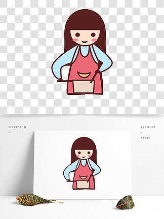 卡通做饭的女孩人物设计