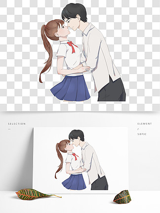 国际接吻日浪漫接吻的情侣手绘设计