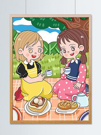 原创可爱国际友谊日闺蜜野餐下午茶卡通插画