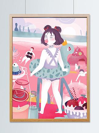 夏日海邊女孩游泳創意插畫大廣角處暑插畫