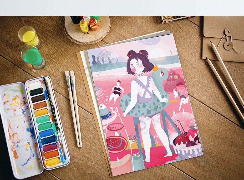 夏日海边女孩游泳创意插画大广角处暑插画