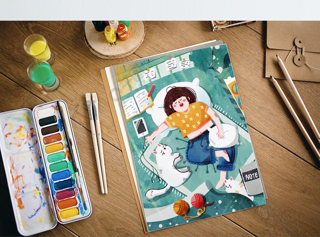 居家睡觉猫咪夏天可爱卡通小清新治愈午睡