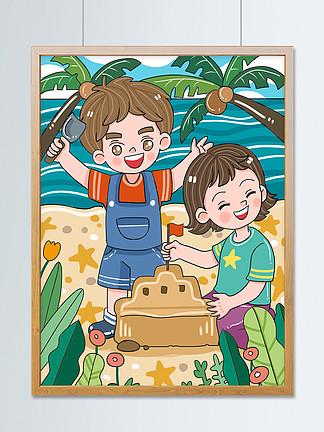 原创可爱卡通你好7月海边玩耍儿童插画