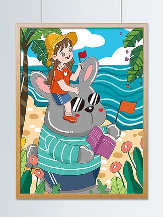 原创小清新你好7月假日旅行可爱卡通插画