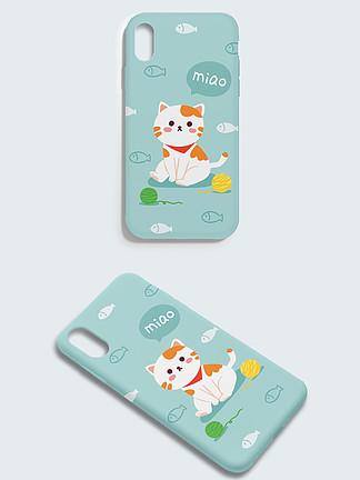 原创清新可爱萌宠猫咪手机壳包装设计插画