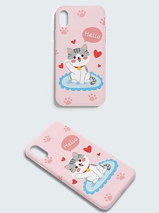 原创清新可爱萌宠猫猫手机壳包装设计插画