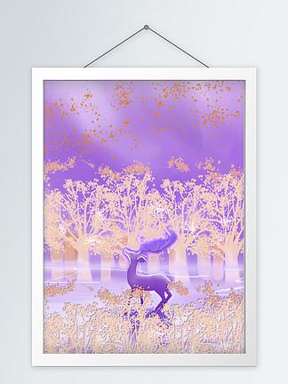 北欧现代抽象山水森林麋鹿装饰画
