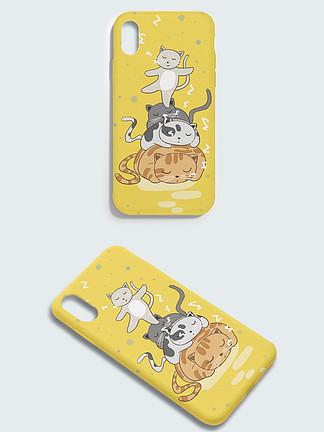 萌宠睡觉的可爱小猫黄色卡通手机壳