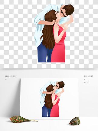 手绘接吻的情侣插画人物设计