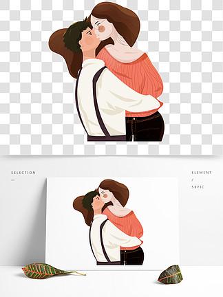 手绘热烈接吻的情侣设计