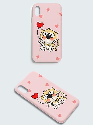 粉红萌宠系列手机外壳之爱心猫咪