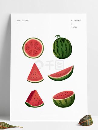 元素西瓜<i>夏</i><i>天</i>各角度清凉粉红绿色清爽水果