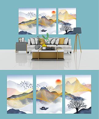新中式金线抽象水墨山水客厅装饰画