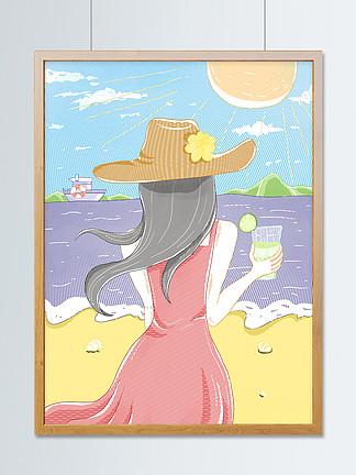 小清新你好夏天清涼海灘度假線排清漫插畫
