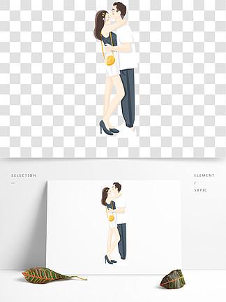 卡通小清新国际接吻日接吻的情侣设计