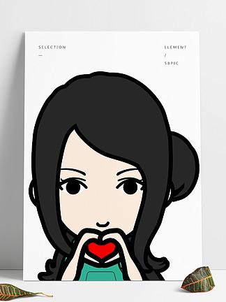 卡通可爱女孩比心头像矢量手绘人物免扣素材