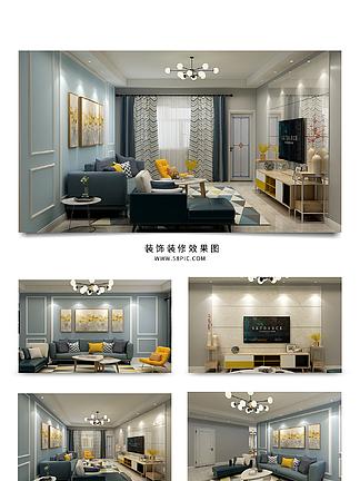 现代风格冷灰蓝色室内<i>客</i><i>厅</i><i>效</i><i>果</i><i>图</i>
