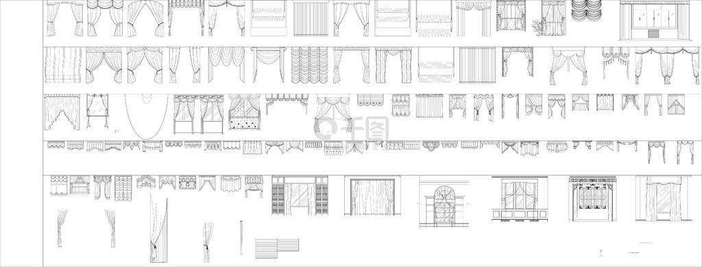 窗帘平立面图块CAD