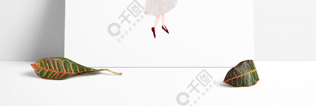 插画美女人物欧风时尚红上衣纱裙