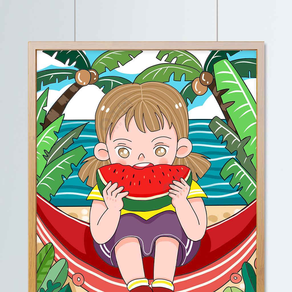 原创可爱卡通二十四节气处暑吃西瓜儿童插画