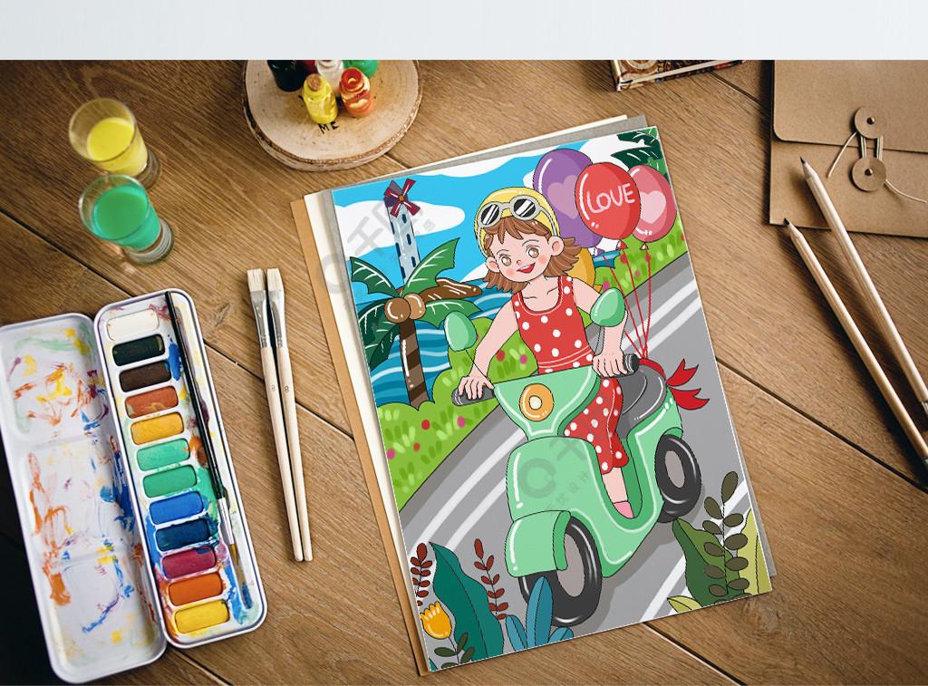 原创可爱卡通小女孩夏天骑车玩耍儿童插画