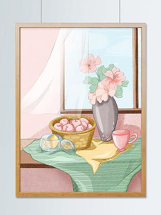 清排漫線小清新靜物水果花卉簡約插畫