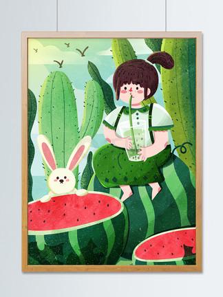 夏天夏至节气西瓜绿豆汤可爱扁平创意小清新
